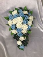 BRIDE ARTIFICIAL FLOWERS IVORY BLUE ROSE BRIDE WEDDING SHOWER BOUQUET TEARDROP